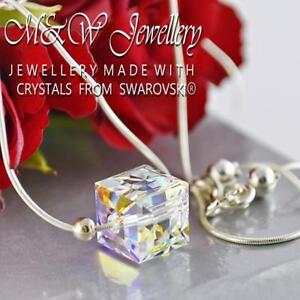 925-STERLING-SILVER-NECKLACE-CRYSTALS-FROM-SWAROVSKI-CUBE-CRYSTAL-AB-10MM