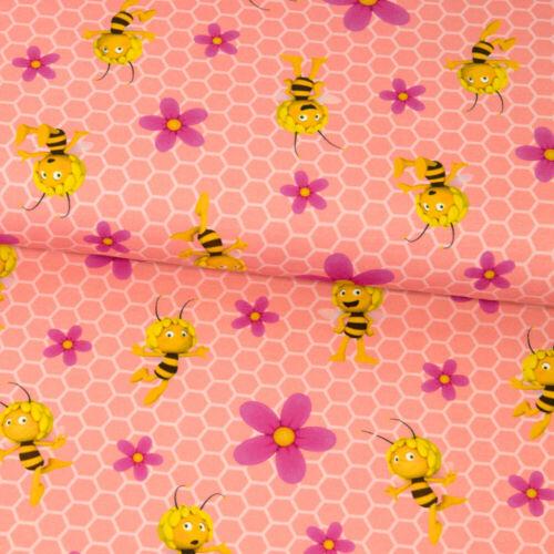 Baumwolljersey licencia sustancia abeja maya panal y flores rosa niños sustancias