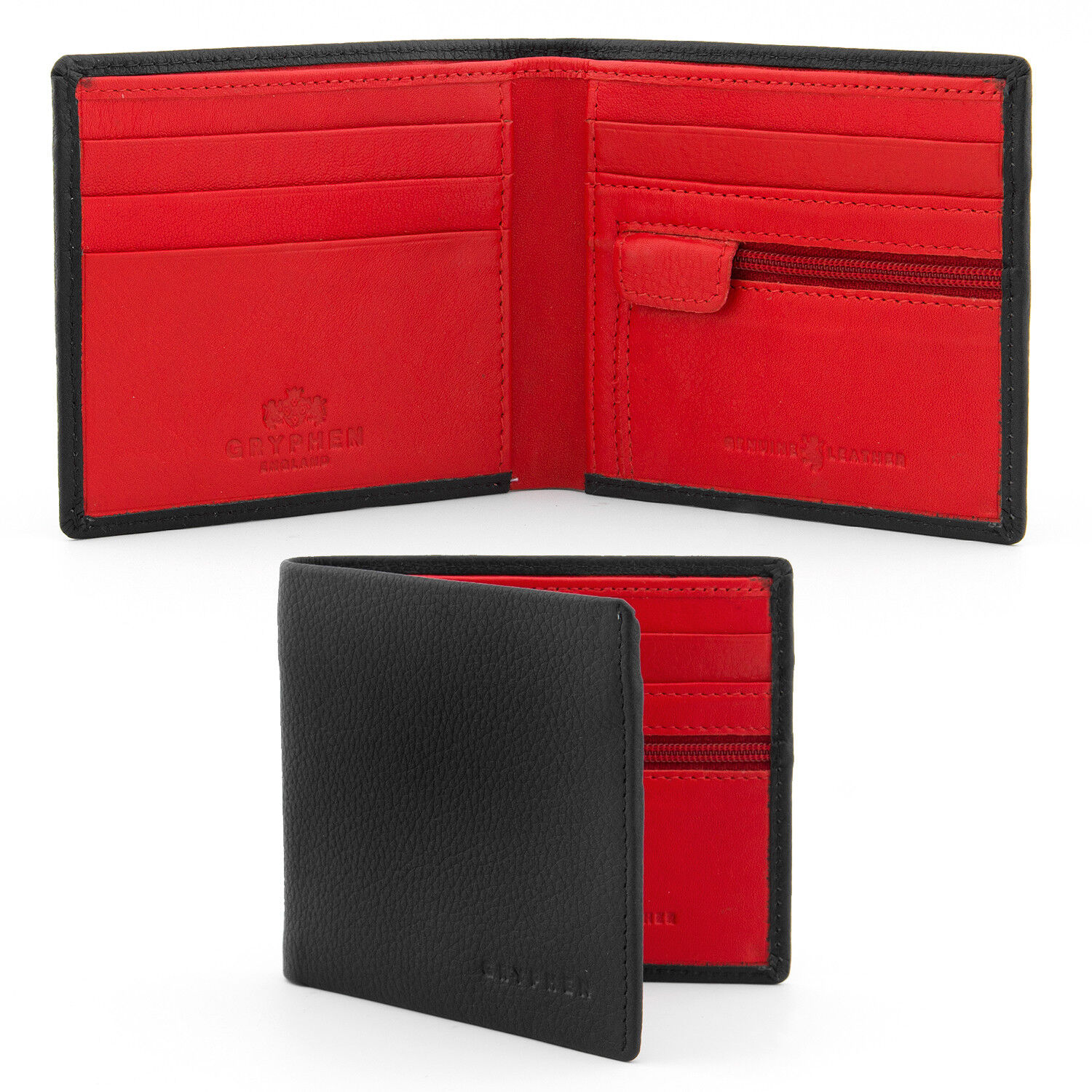 The Wilmore Two Fold Leather Gryphen Wallet - Black / Red - RRP