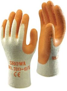 10 Pairs Of SHOWA 305 Grip XTRA Latex Palm Coated Safety Gardening Gloves 8//M