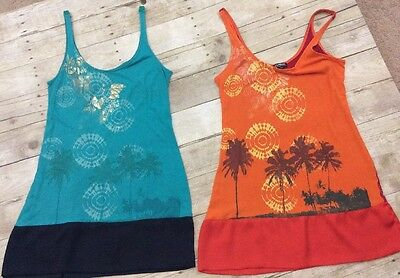 Lot Of 2 EXPRESS DREAMWEIGHT COTTON Turquoise & Orange Tank Dresses Sz S {B26AW}