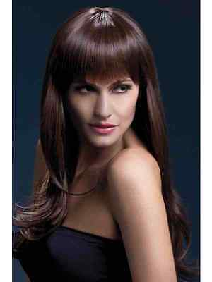 Da Donna Sienna Parrucca Lunga Due Tonalità Marrone Glamour Fancy Dress Party Sexy Accessorio-mostra Il Titolo Originale