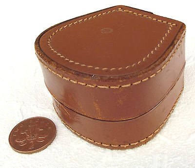 Old leather stud box vintage mens jewellery travel case