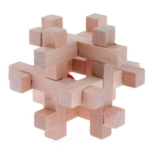 Wooden Kongming Lock Brain Teaser Puzzle Children Adults Educational Game Toys