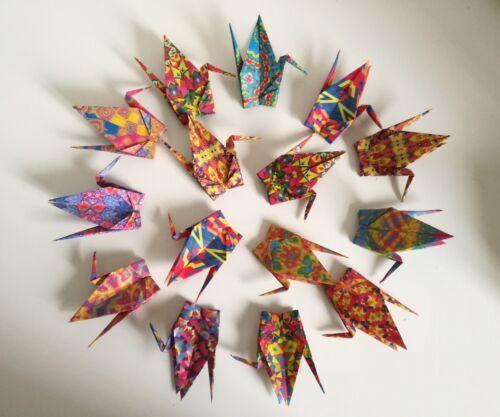 kaleidoscope patterns Set of 15 handmade colourful origami cranes