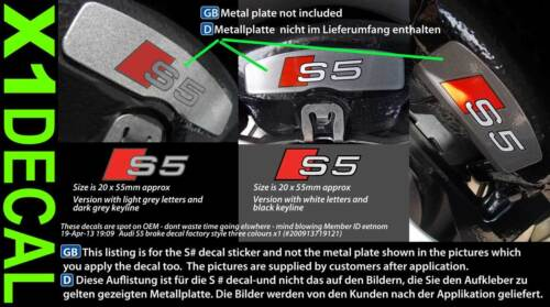 Brake decal sticker to fit Audi S2 S3 S4 S5 S6 S7 3 colour choices x1 purchase