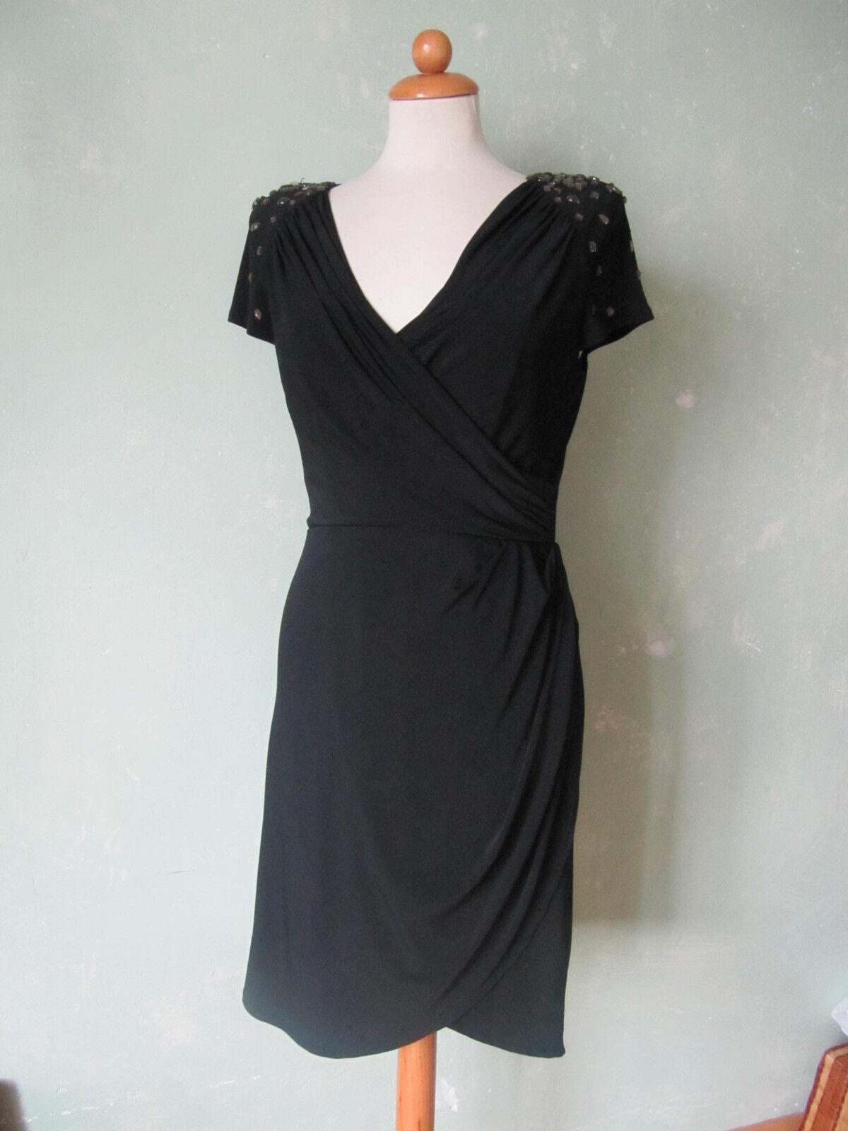 Jessica Simpson Kleid schwarz Party Pailletten Reißverschluss Rücken 40 L (S23)