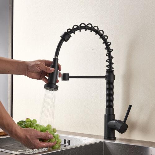 Kitchen Sink Faucet Pull Duwn Sprayer Single Hole Deck Mounted Mixer Matt Black