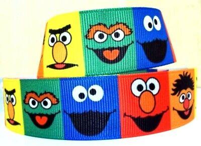 """By The Yard Sesame Street inspired 7//8"""" Grosgrain Ribbon USA Seller"""
