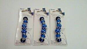 Lot of 3 Darice Mix & Mingle Metal Lined Beads Light Blue 9 pc each package