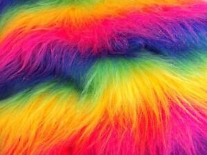 Long-Pile-Rainbow-Faux-Fur-Fabric-LGBT-Q-Gay-Pride-Craft-Material-By-The-Meter
