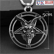 Baphomet Inverted Pentacle Pentagram Pewter Satanic Goat Head Pendant Necklace ACrDmWNKL0