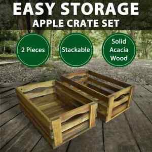 vidaXL 2x Solid Acacia Wood Apple Crates Storage Bucket Wooden Box Fruit Retro
