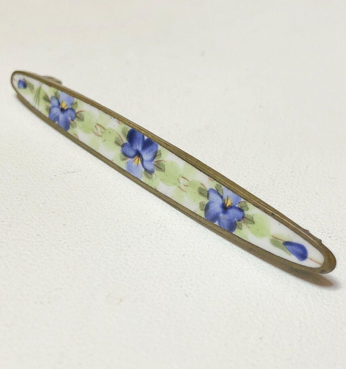 Antique Painted Enamel Pansy Flower Brooch Bar Pin - image 3