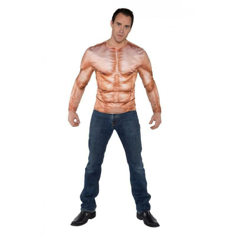 Padded Muscles Photo Real Shirt Adult Costume One Size