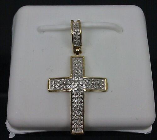"10K Men/'s//Ladies Yellow Gold Cross With 0.20CT Diamond 1.25/"" Long Angel// Jesus"