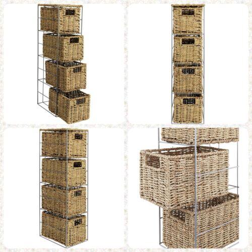 4 Drawer Seagrass Basket Rattan Effect Bathroom Storage Tower Silver Metal Frame
