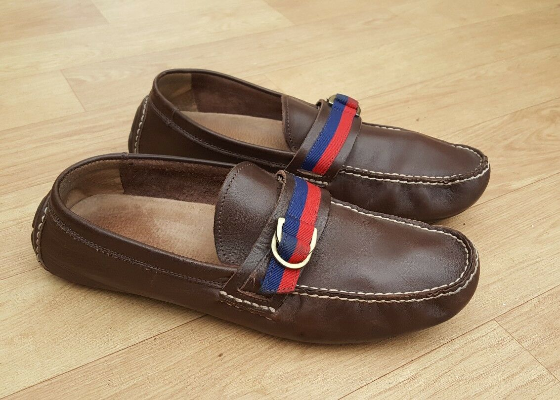 POLO RALPH LAUREN TERRY RIBBON BROWN LEATHER LOAFERS DRIVING Schuhe UK 10.5D