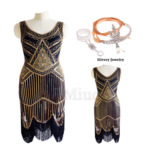 1920s Flapper Gatsby Party Gown Cocktail Evening Dress Tassel Sequin 30s Dresses