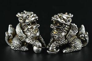 Decorated-Rare-Miao-Silver-Carve-Arrogance-Lifelike-Kylin-Lucky-Pair-Statue