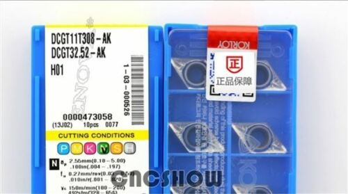 10 Teile Schachtel Neue Hartmetalleinsätze Korloy DCGT11T308-AK H01 th