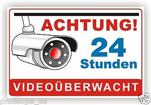 schild aufkleber achtung 24 stunden video berwacht video berwachung vi9 ebay. Black Bedroom Furniture Sets. Home Design Ideas