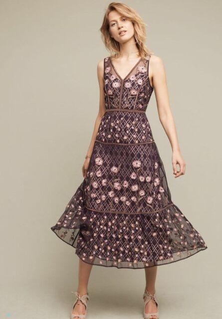 d1d9e7820052 New Anthropologie Tansey Tulle Midi Dress Embroidered Moulinette Soeurs 10  $298
