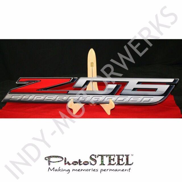 "CORVETTE C7 15 thru 17 METAL ZO6 SUPER CHARGED Z06 EMBLEM FULL 35"" x 5"" WALL ART"
