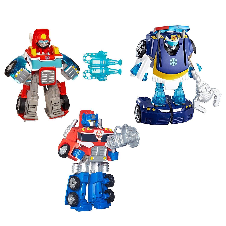Playskool Transformers Rescue Bots Bundle Optimus Prime Heatwave Chase 3+ Toy