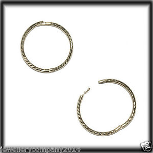 Image Is Loading 9ct Solid Gold Diamond Cut Hinged Sleeper Earrings