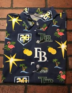 Tampa-Bay-Devil-Rays-20th-Anniversary-All-Over-Print-Button-Up-Shirt-Men-039-s-M
