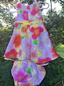 GEORGE-3-to-6-Months-Baby-Infant-Girls-Hawaii-FLORAL-DRESS-with-PANTS-tb18