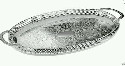 Made In UK Silver Plated Gallery Tray Serving Tray Tarnish Resistant Oval