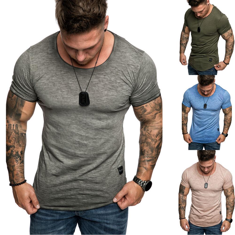 2019 DernièRe Conception Oversize Messieurs Vintage Crew-neck Délavée Basic T-shirt Environ Col R7-t R7 Fr-fr Avec Les éQuipements Et Les Techniques Les Plus Modernes