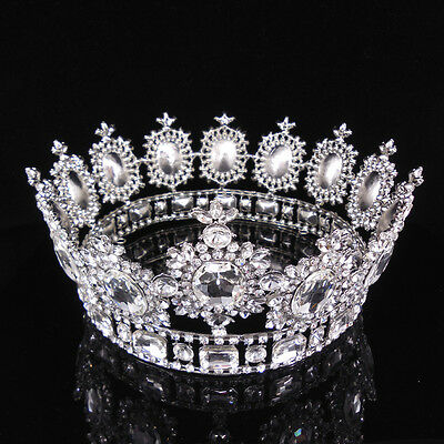 """3 Colors Crystal King Crown Wedding Bridal Party Pageant Prom 4.3/"""" Wide"""