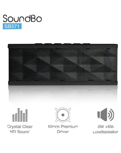 SoundBot SB571 Bluetooth 3.0 Wireless Speaker Hands Free Calling Black on Black