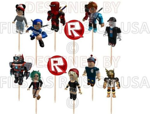 Made from paper Roblox Cupcake Toppers 12 or 24 pc Birhday Party Supplies