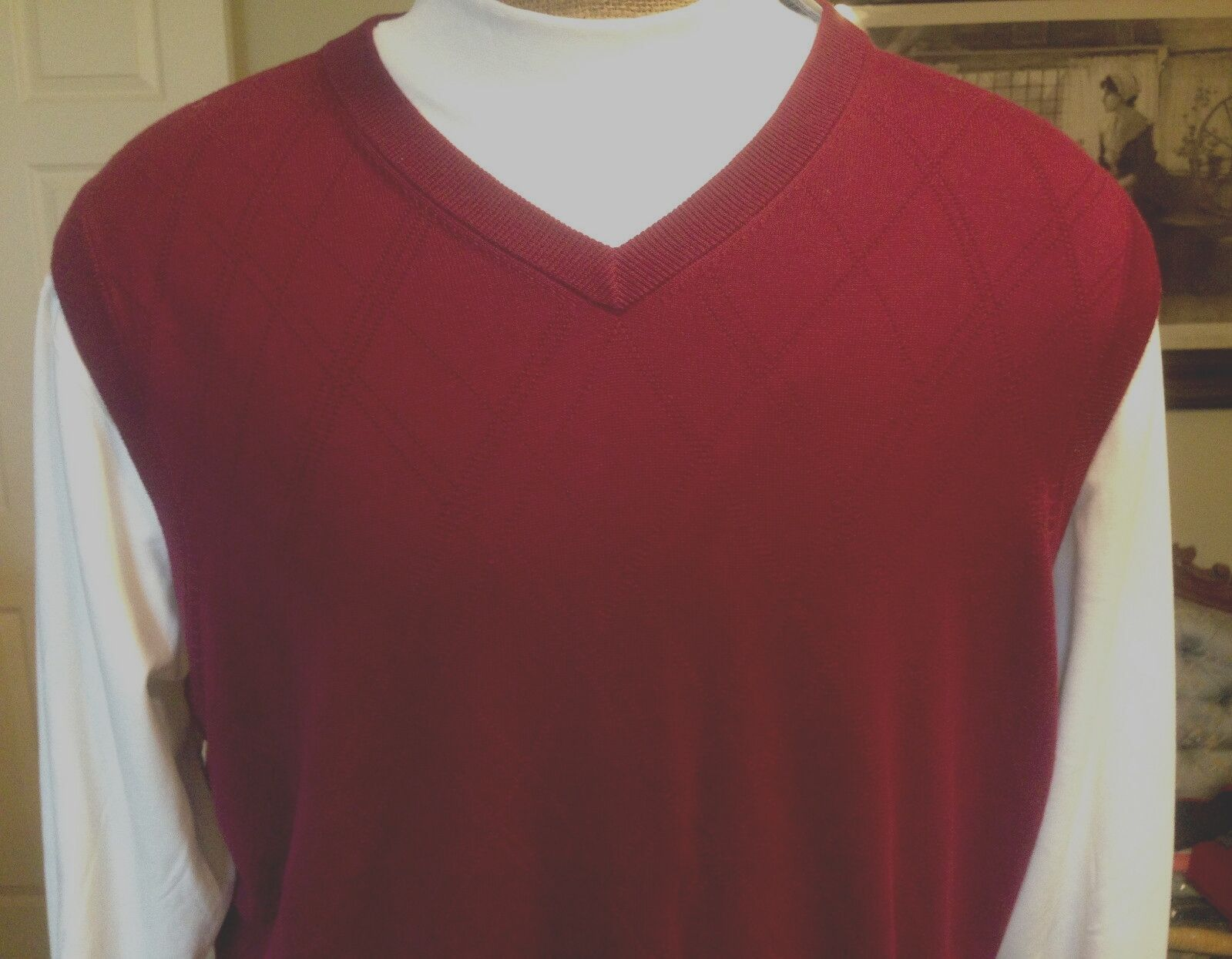 ROUNDTREE & YORKE Merlot Red Cotton Mens Sweater Vest XLT  2X   F945 Box 77