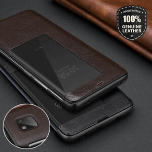 lowest price 4c0e5 88b5b Details about Smart Genuine Leather View Windows Flip Case Cover For Huawei  Mate 20 Pro Lite