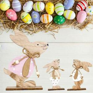 Wooden Rabbit Pendant Happy Easter Door Hanging Ornaments Sign Home Decor
