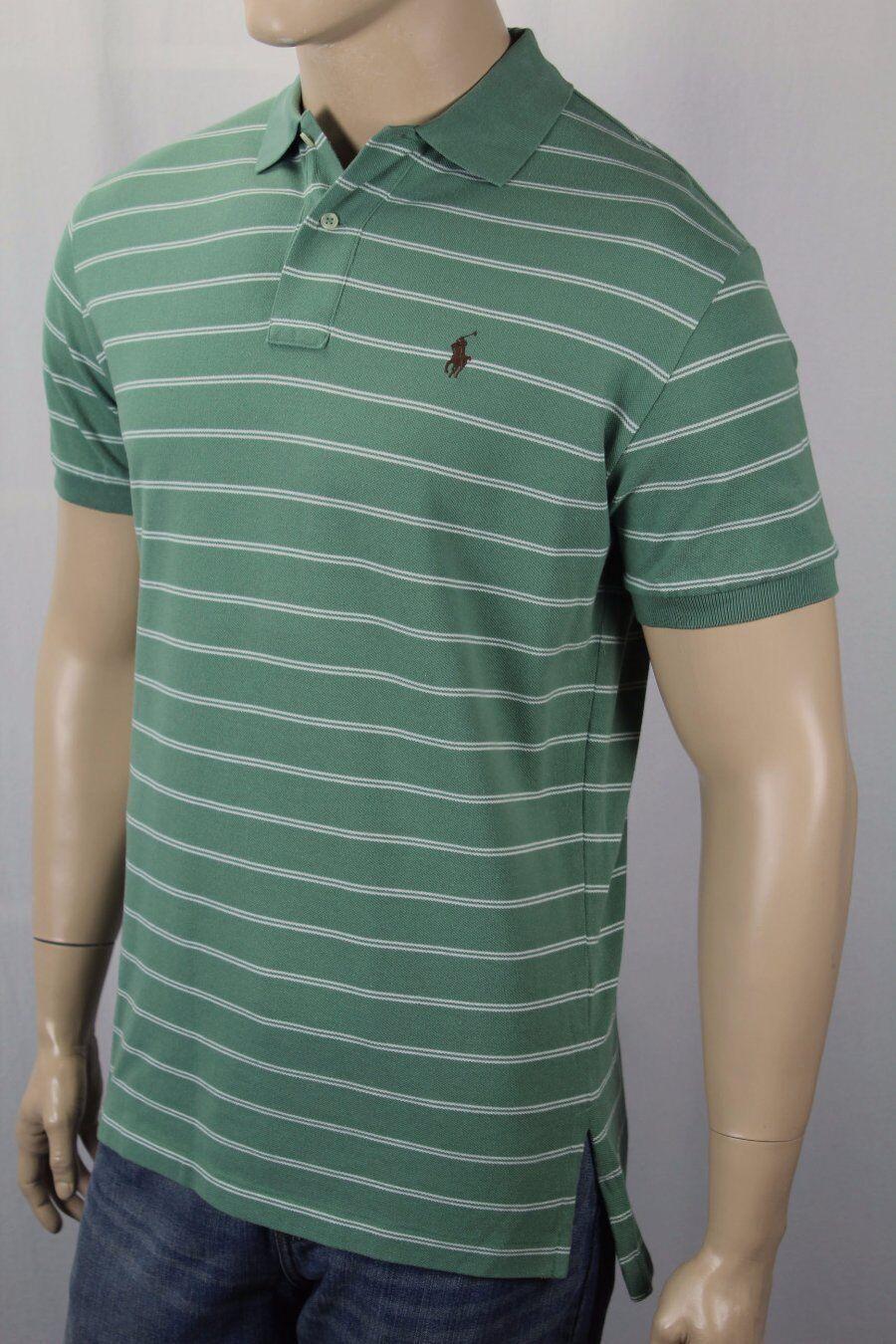 Polo Ralph Lauren Green Cream Striped Classic Fit Mesh Shirt Brown Pony NWT
