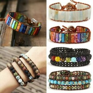 7-Chakra-Natural-Stone-Tube-Beads-Bracelet-Handmade-Rope-Wrap-Bangle-Gifts