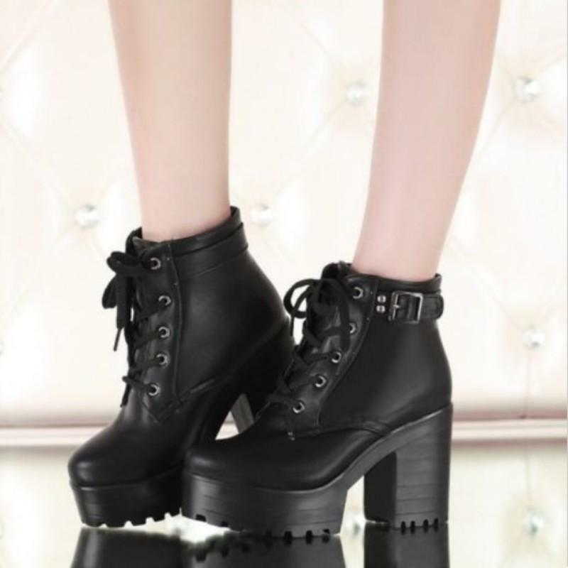 Platform Women Chunky Heel Round Lace-Up Punk  Ankle Boots shoes Plus size