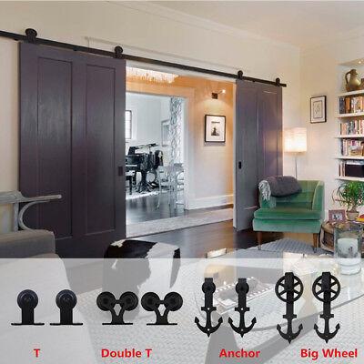CCJH 6-12FT Black Sliding Barn Wood Door Hardware Closet Track Kit Single//Double