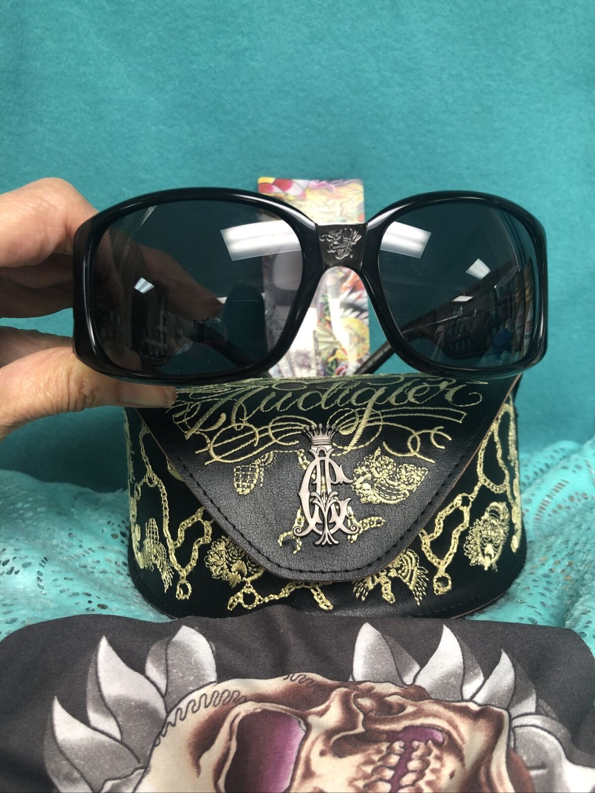 100% AUTHENTIC Ed Hardy by Christian Audigier Black Sunglasses New