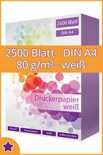 2500 Blatt Kopierpapier DIN A4 80g/m² weiß Qualitäts Druckerpapier