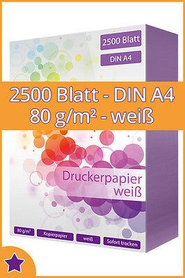 2500 Blatt Kopierpapier DIN A4 80g//m² weiß Qualitäts Druckerpapier