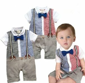 8bc787f56b Details about Baby Boy Wedding Tuxedo Smart Casual Birthday Party Suit  Outfit Clothes OnePiece