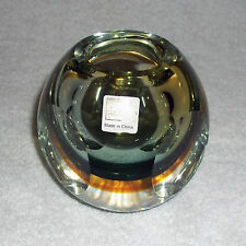 """FIFTH AVENUE LTD CRYSTAL 4"""" Round AURA Amber Blue Walled Art Glass Votive Candle"""