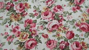 Pink-Rose-on-a-Cream-Background-100-Cotton-Fabric-PER-METRE